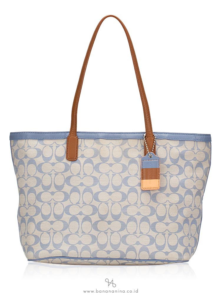 COACH 23107 Legacy Weekend Signature Tote Light Blue