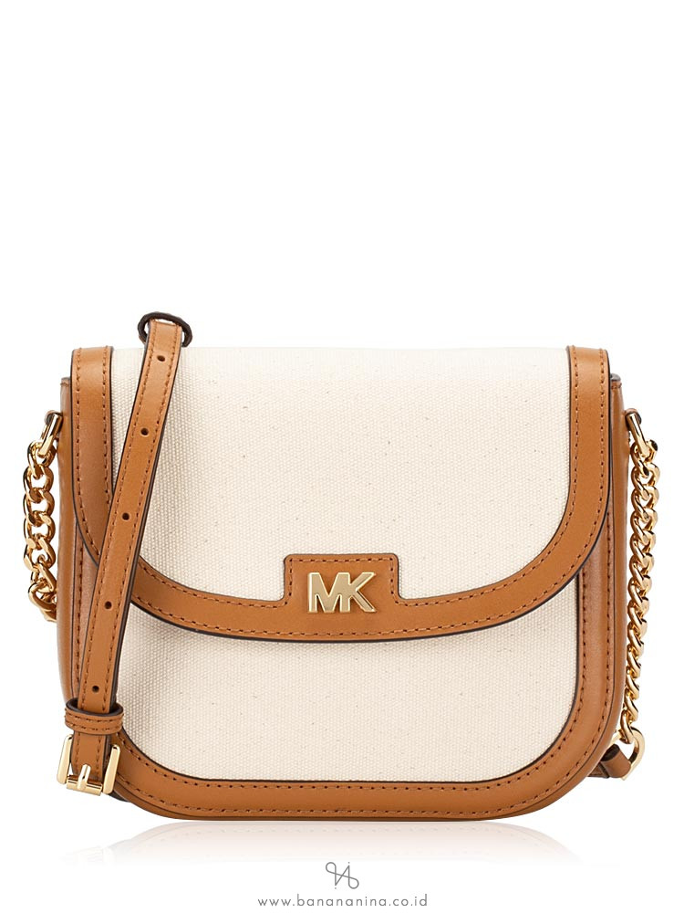 Michael Kors Half Dome Canvas & Leather Crossbody Natural Acorn