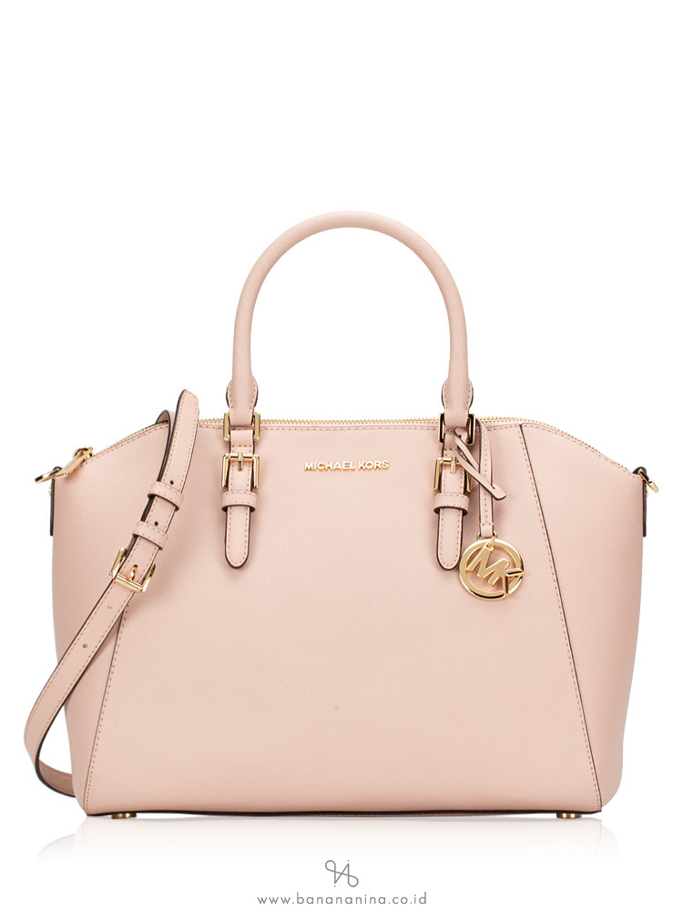 Michael Kors Ciara Saffiano Large Top Zip Satchel Blossom