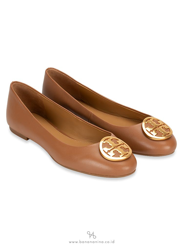 TORY BURCH Benton Leather Flats Royal Tan Sz 6.5