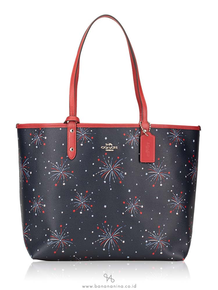 COACH 72772 Firework Print Reversible City Tote Navy Multi Washed Red