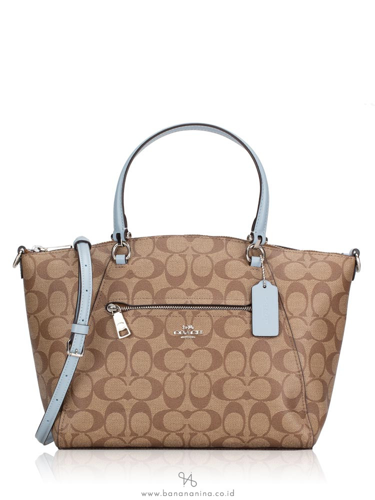 COACH 79998 Signature Prairie Satchel Khaki Pale Blue