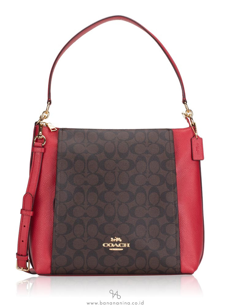COACH 79993 Signature Marlon Hobo Brown True Red