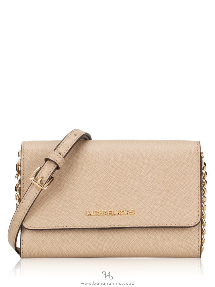 MICHAEL KORS Jet Set Travel Medium Multifunction Phone Crossbody Bisque