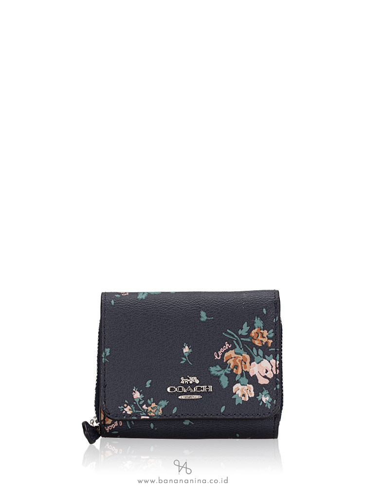 COACH 91752 Rose Bouquet Print Small Trifold Wallet Midnight Multi