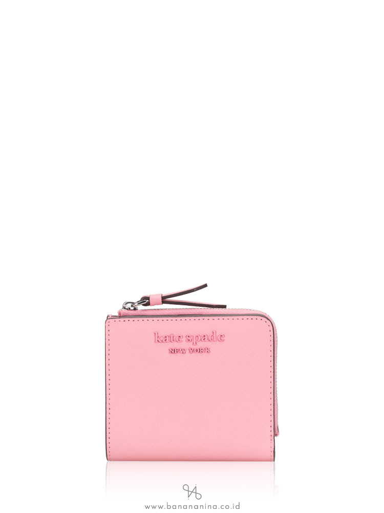 KATE SPADE Cameron Monotone Small L-Zip Wallet Bright Carnation