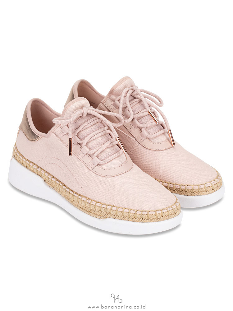 MICHAEL KORS Finch Canvas Lace Up Sneaker Soft Pink Rose Gold Sz 8