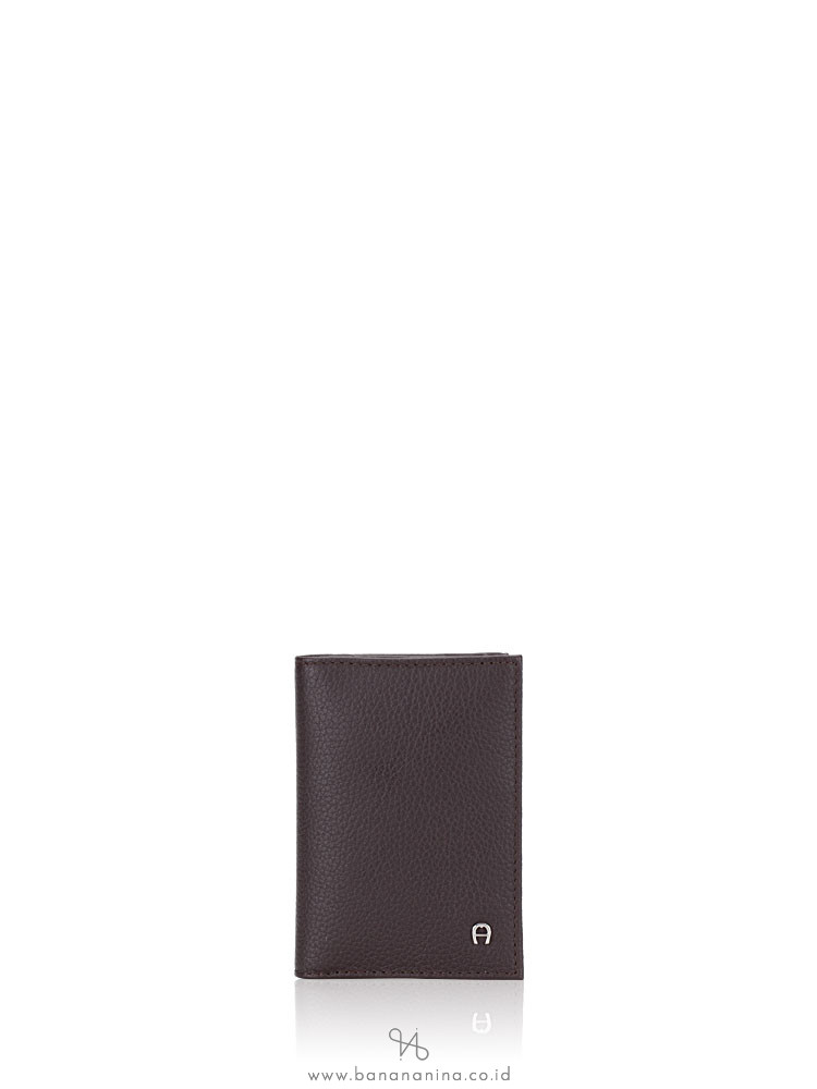 AIGNER Men Leather Card Case Brown