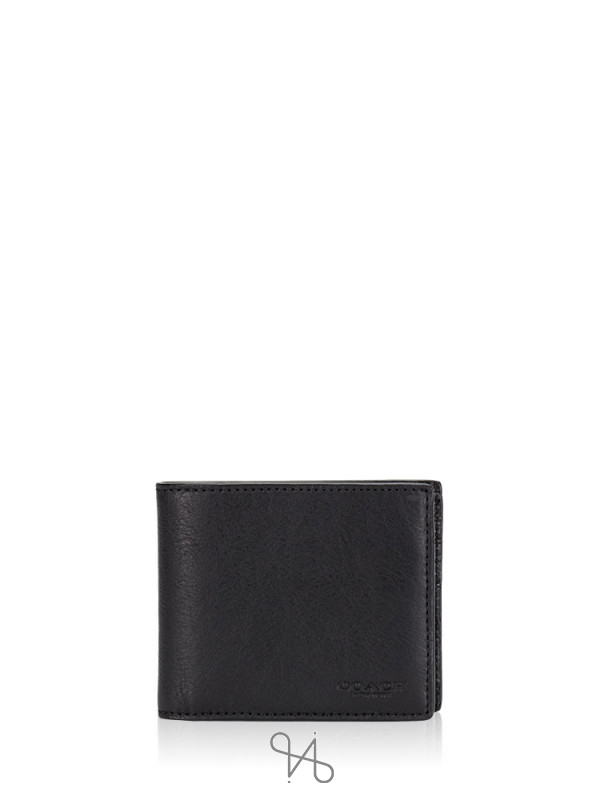 COACH Men 74991 Compact ID Sport Calf Wallet Black