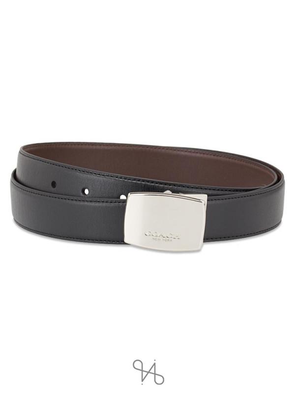 COACH Men 65185 Plaque Harness Belt Box Set Black Brown