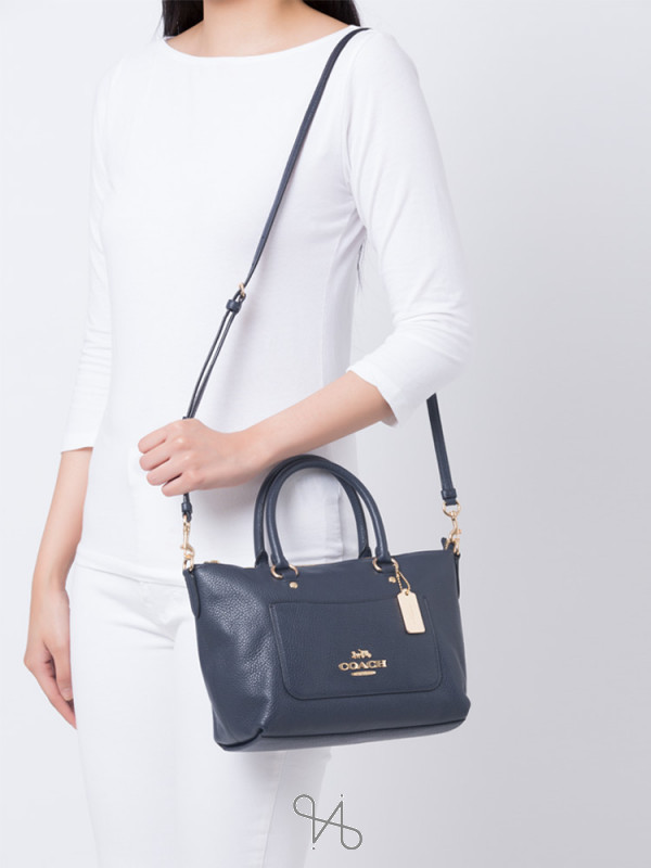 COACH 31466 Pebbled Leather Mini Ema Satchel Midnight