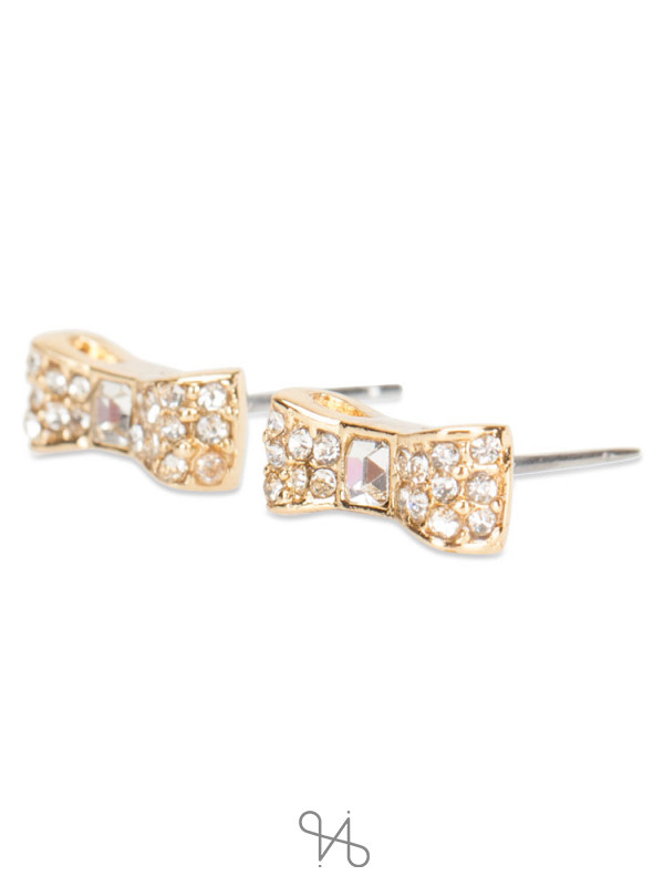 KATE SPADE Ready Set Bow Earring Clear Gold