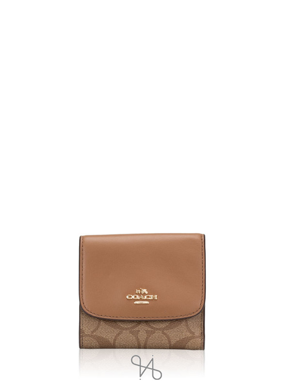COACH 87589 Signature Soft Leather Small Wallet Khaki Saddle