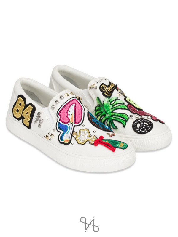 MARC JACOBS Mercer Canvas Slip on White Multi Sz 7