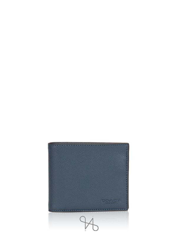 COACH Men 59112 Compact ID Crossgrain Leather Wallet Dark Denim