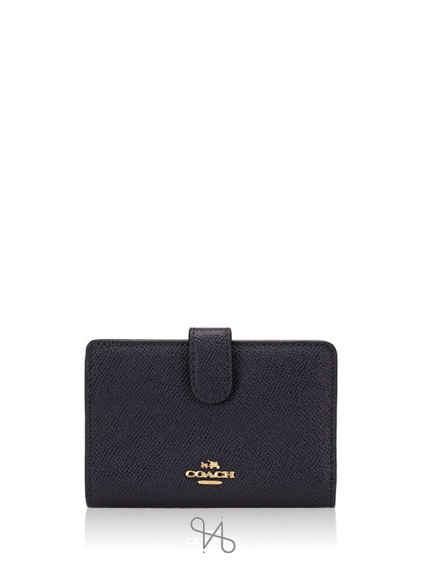 COACH 11484 Crossgrain Leather Medium Wallet Midnight