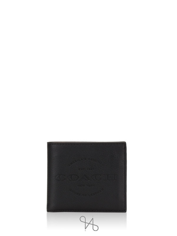COACH Men 24647 Double Billfold Wallet Black