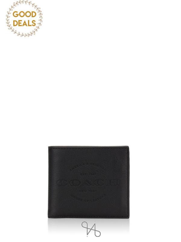 COACH Men 24647 Double Billfold Wallet Black
