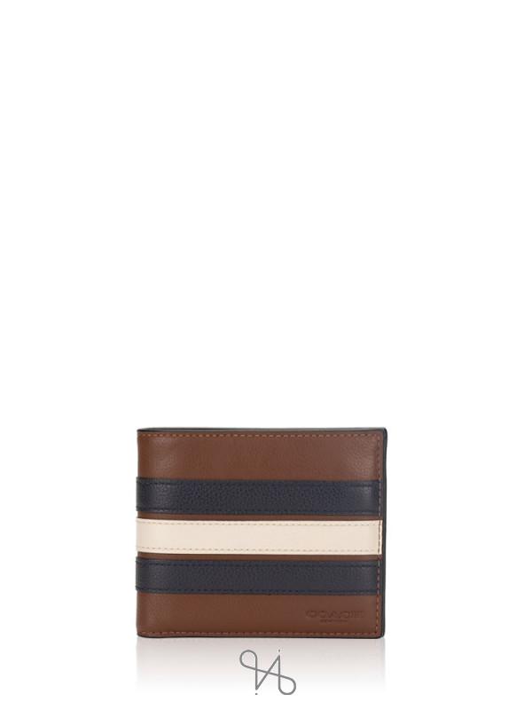COACH Men 24649 3 In 1 Varsity Leather Wallet Saddle Midnight Navy Chalk