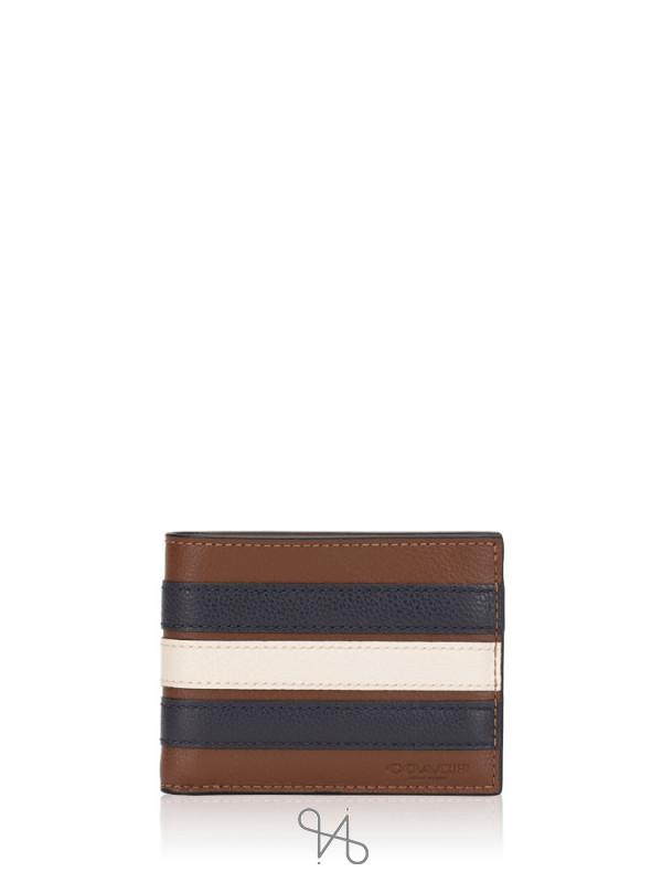 COACH Men 26171 Slim Varsity Leather Billfold Wallet Saddle Midnight Navy Chalk