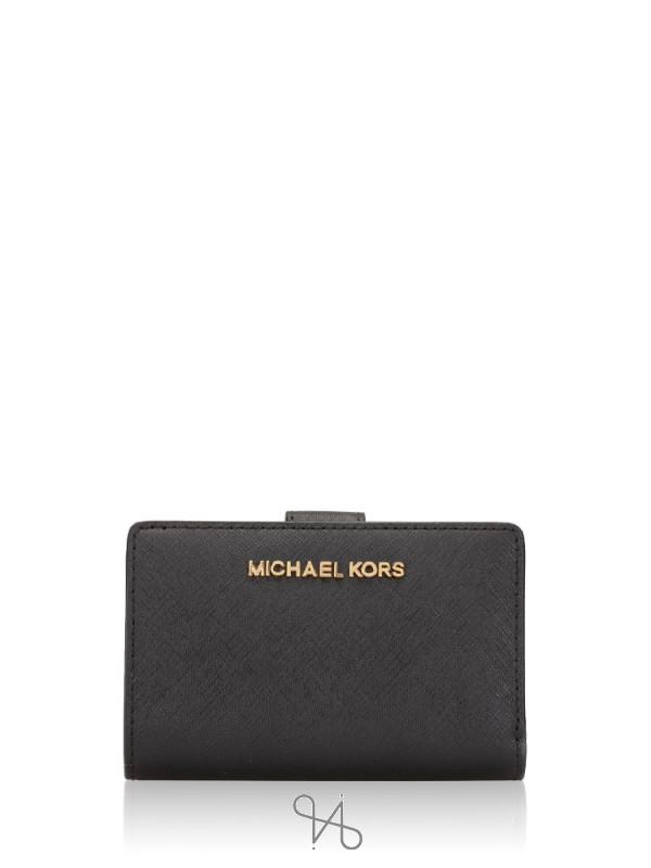 MICHAEL KORS Jet Set Travel Bifold Zip Coin Wallet Black