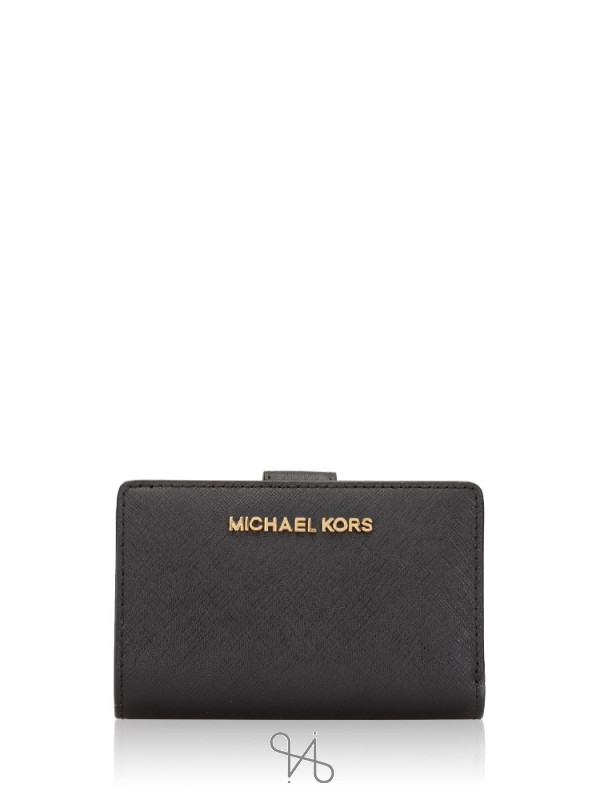 MICHAEL KORS Jet Set Travel Bifold Zip Coin Wallet Black