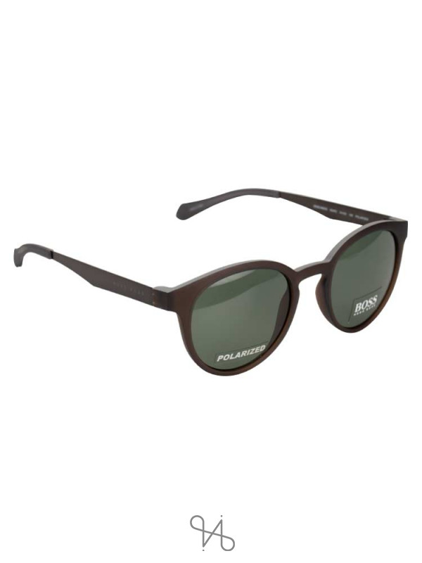 HUGO BOSS 0869S Polarized Vintage Round Sunglasses Brown Matte