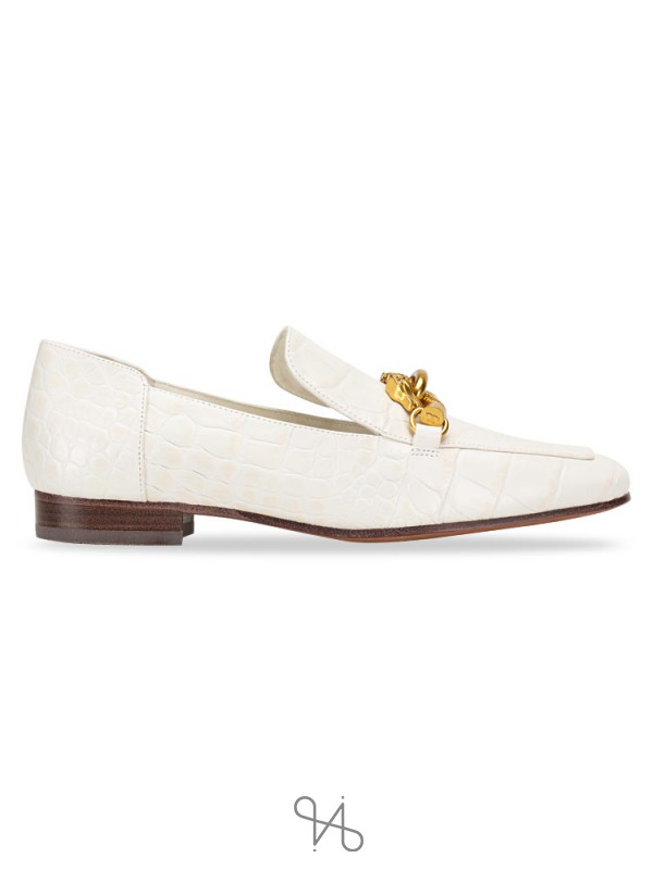 TORY BURCH Jessa Croco Emboss Horse Hardware Loafer Ivory Sz 5
