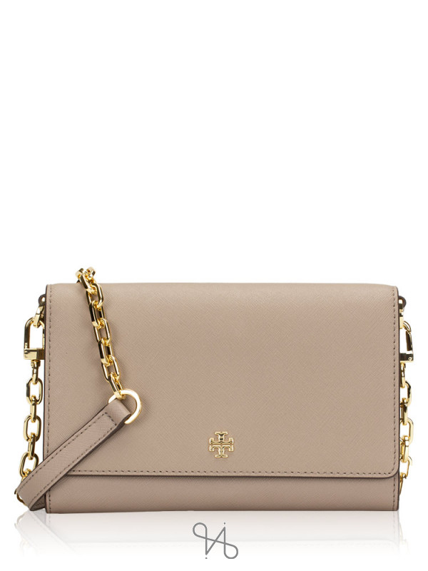 TORY BURCH Emerson Chain Wallet French Gray