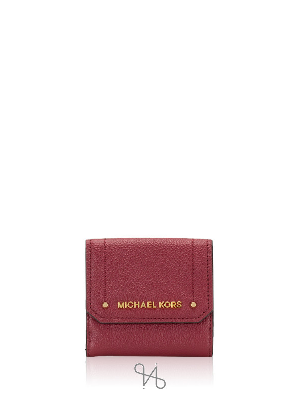 MICHAEL KORS Hayes Leather Medium Trifold Coin Case Mulberry