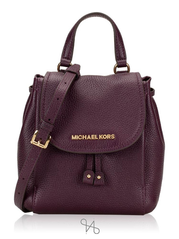 MICHAEL KORS Riley Leather Small Flap Pack Crossbody Damson