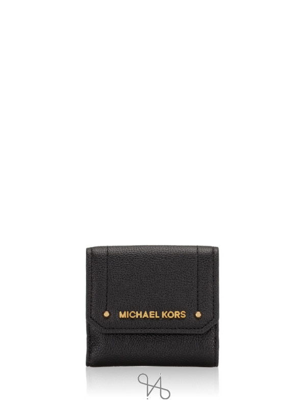 MICHAEL KORS Hayes Leather Medium Trifold Coin Purse Black