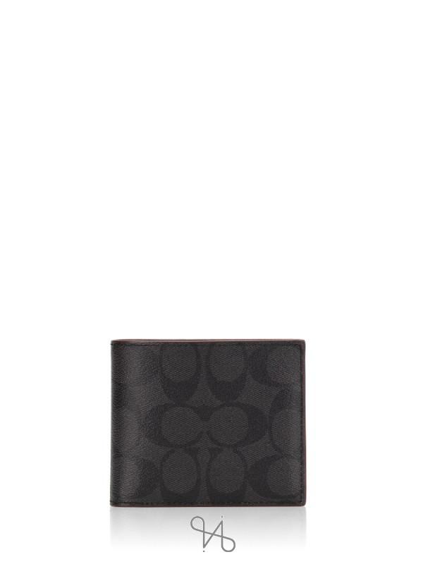 COACH Men 41346 Signature Compact ID Wallet Gift Set Black