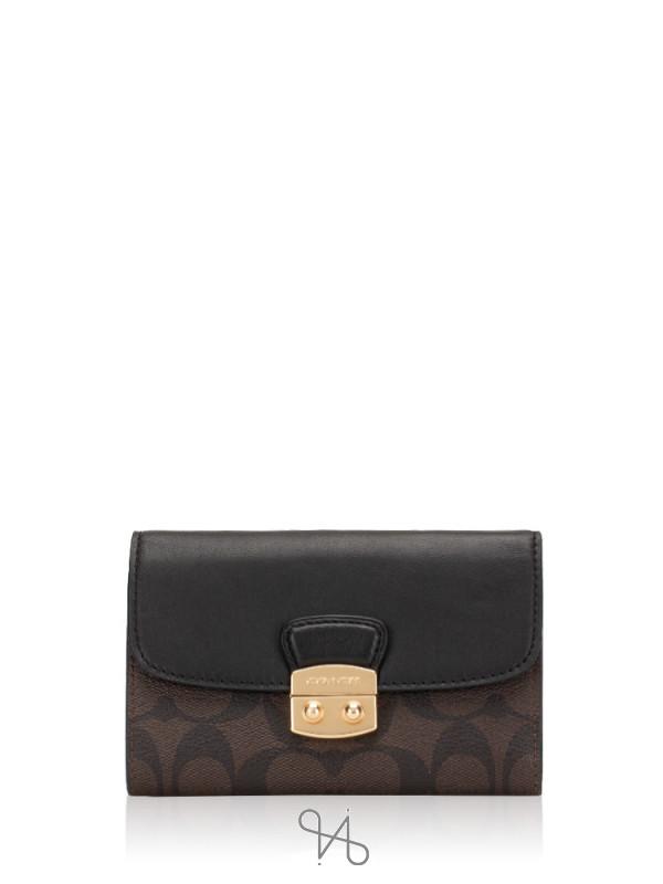 COACH 34780 Signature Avary Medium Envelope Wallet Brown Black