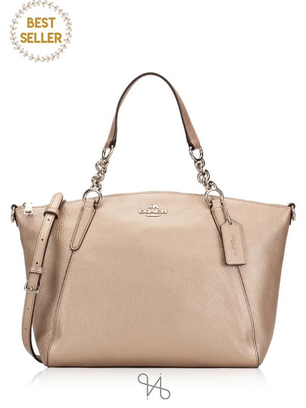 COACH 31409 Leather Small Kelsey Chain Satchel Platinum