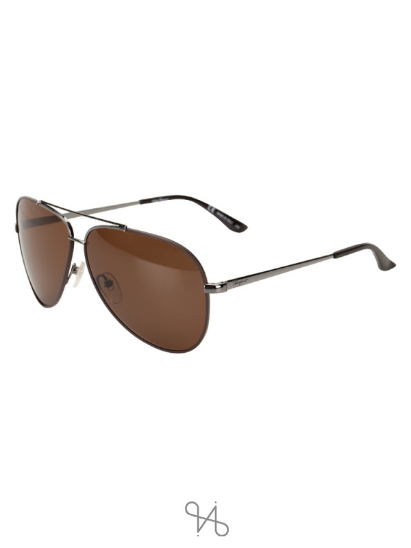 SALVATORE FERRAGAMO SF131S Aviator Brown Gunmetal