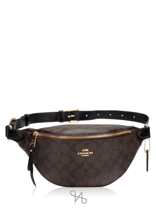 COACH 48740 Signature Belt Bag Brown Black