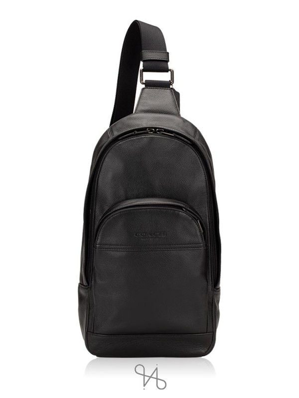 COACH Men 49312 Smooth Leather Houston Sling Pack Black