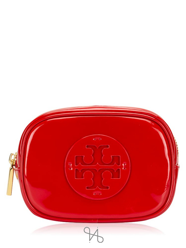 TORY BURCH Stacked Logo Patent Small Cosmetic Case Liberty Red