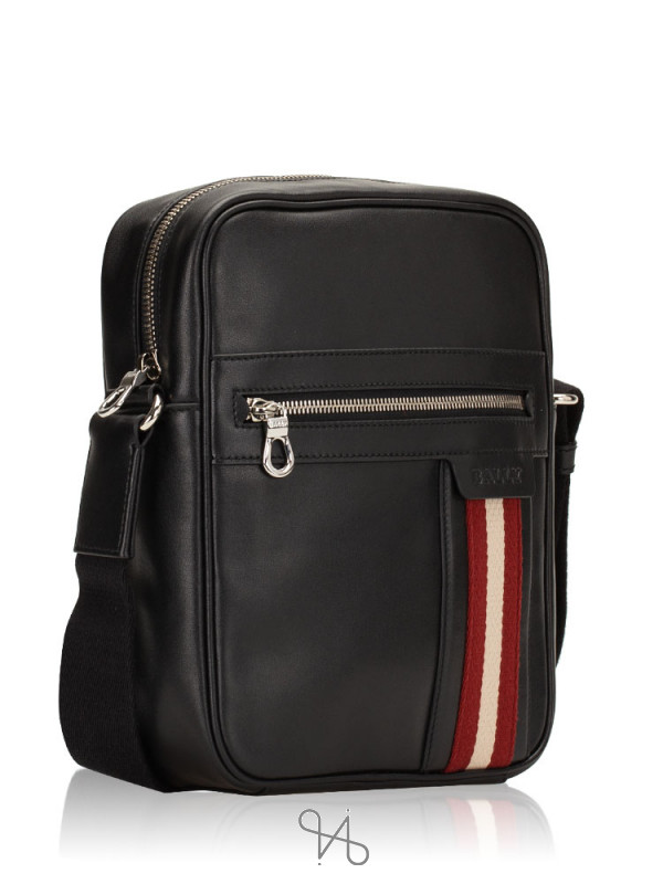 BALLY Men Oakview-SM Leather Messenger Black