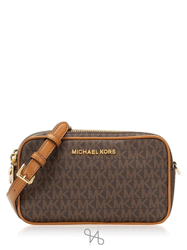 MICHAEL KORS Connie Monogram Small Camera Bag Brown Acorn
