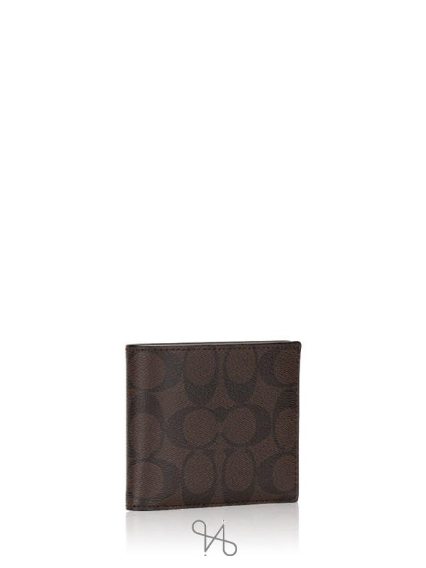COACH Men 74993 Compact ID Signature Wallet Mahogany Black