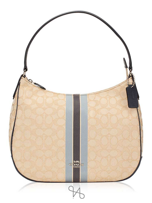 COACH 39042 Signature Jacquard Stripe Hobo Khaki Blue Multi