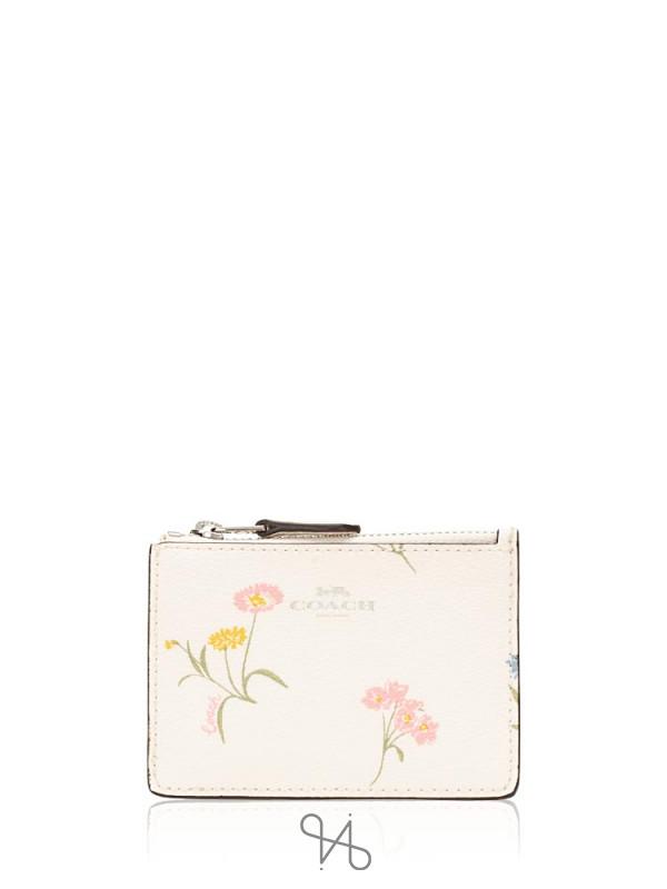 COACH 73355 Multi Flower ID Mini Skinny Chalk