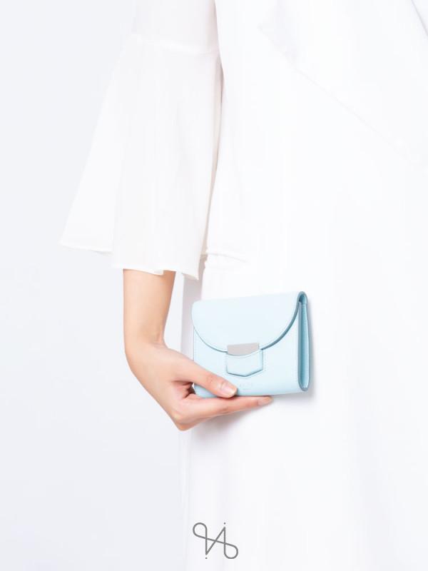 CELINE Trotteur Leather Small Wallet Blue