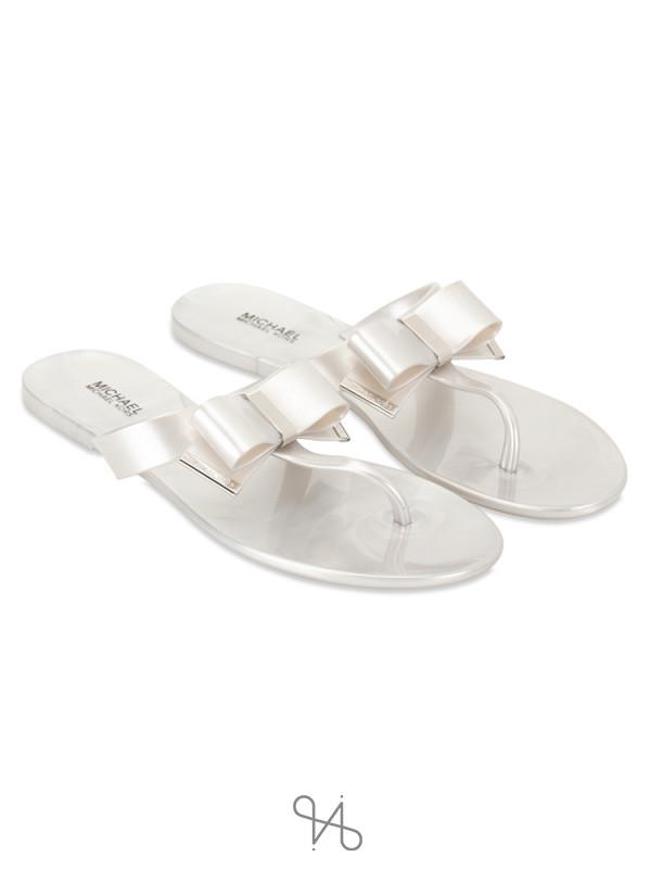 MICHAEL KORS Kayden Thong Sandals Silver Sz 8