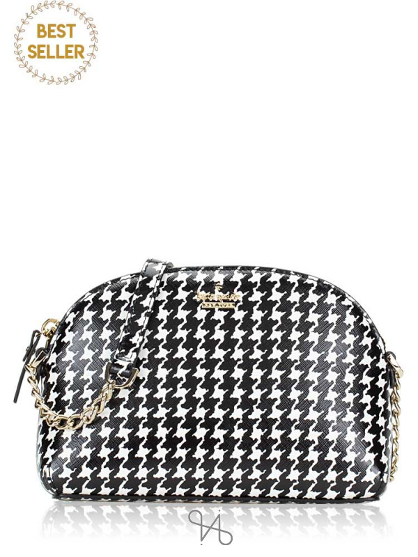 KATE SPADE Cameron Street Houndstooth Hilli Black French Cream