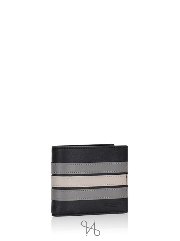 COACH Men 73629 Varsity Stripe Wallet Black Grey Chalk