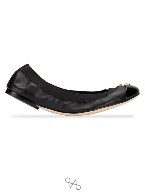 TORY BURCH Jolie Leather Flats Black Sz 7