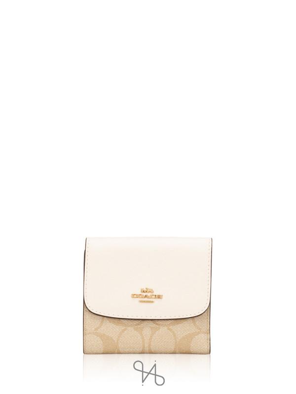 COACH 87589 Signature Soft Leather Small Wallet Light Khaki Chalk